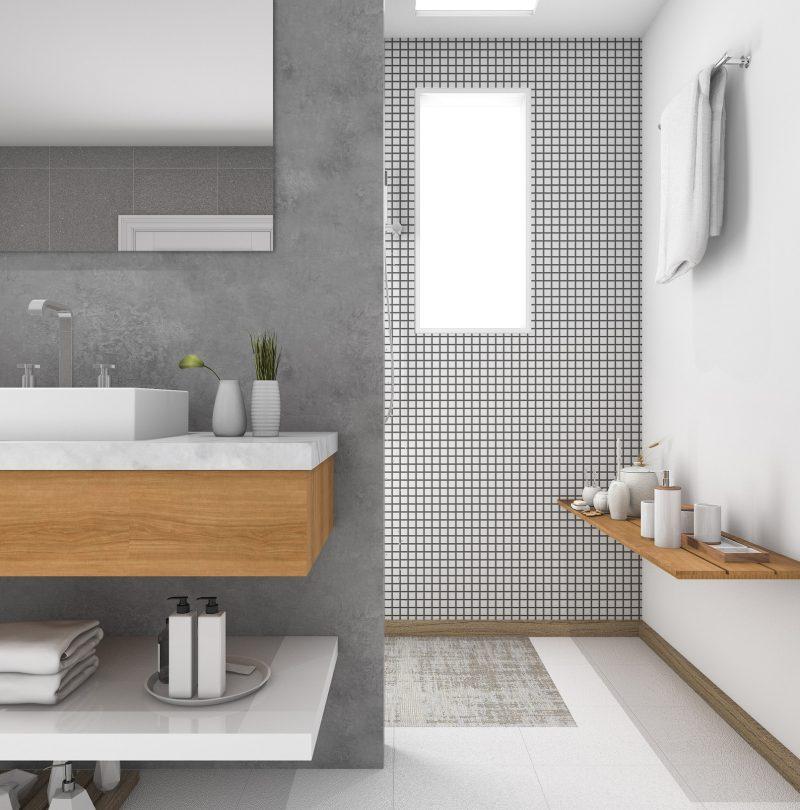 3d rendering minimal wood sink in bathroom